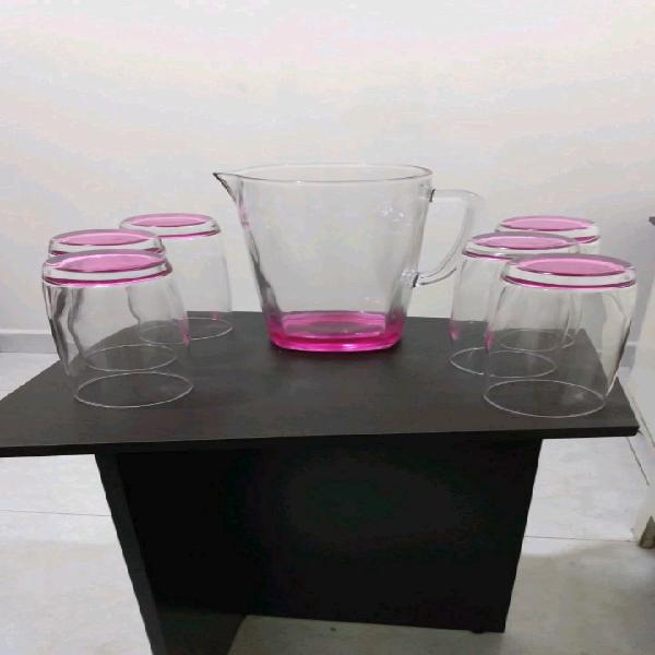 Jarra con vaso de cristal X 7 piezas.