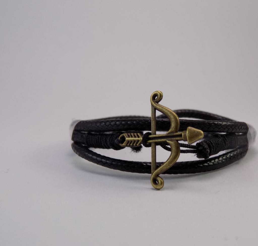 Manilla, pulsera, brazalete de cuero, arco y flecha, cupido,