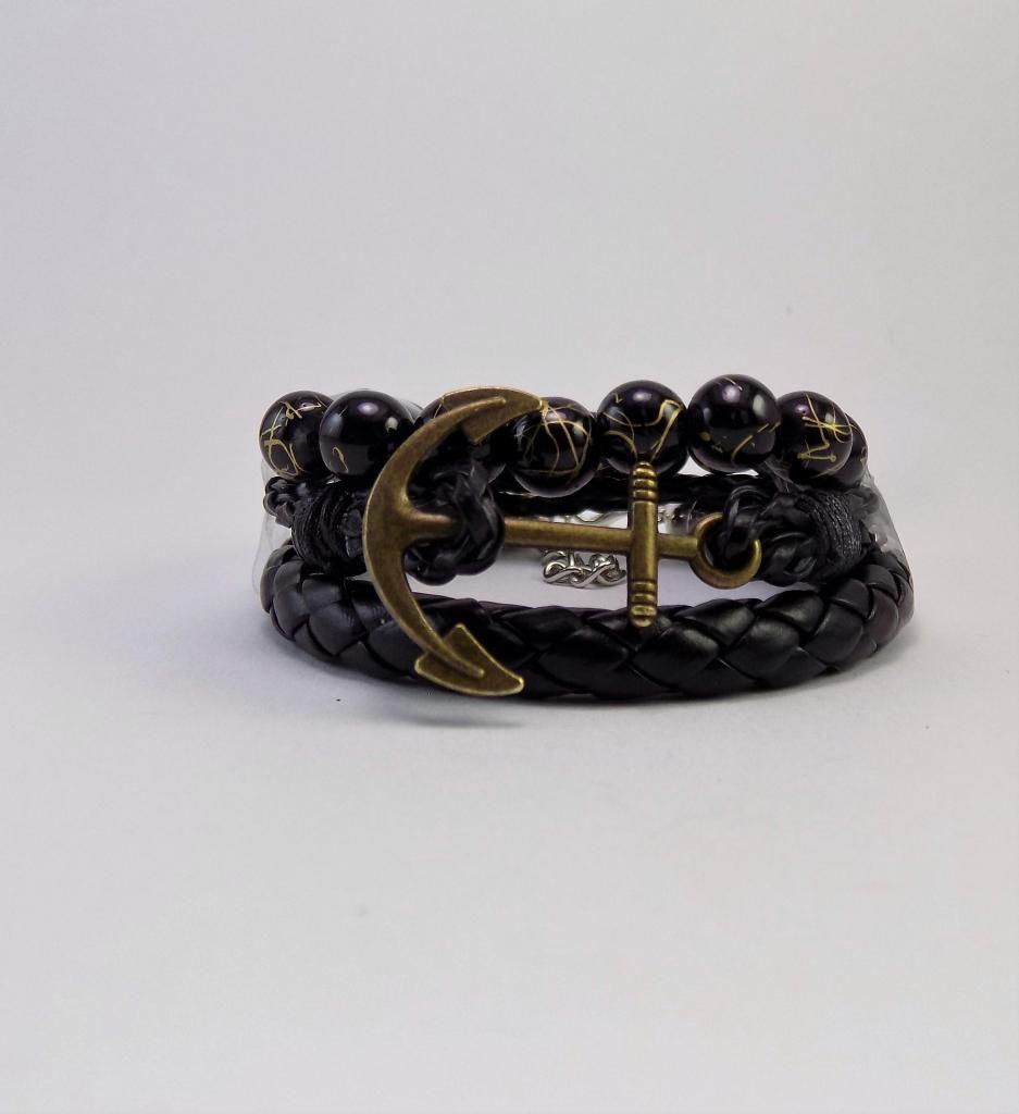 Manilla, pulsera, brazalete de cuero, piedras doradas,