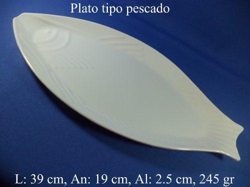 Platos Para Restaurante De Melamina Tipo Pescado 39 X 19 Cm