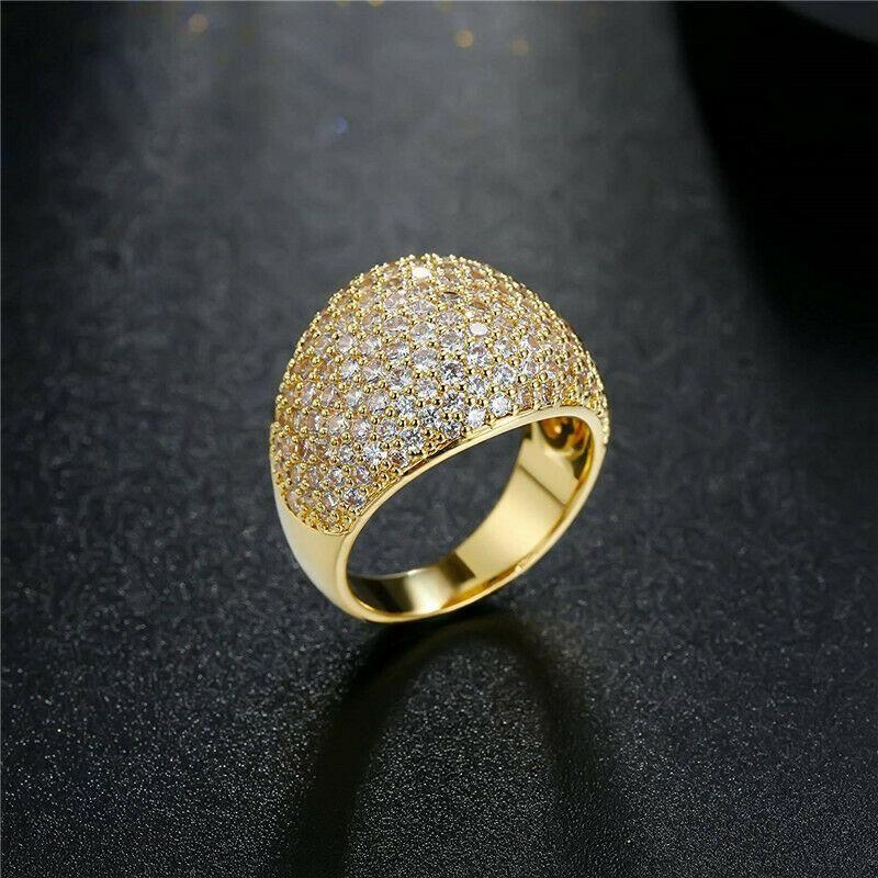 Precioso anillo chapado en oro talla 9