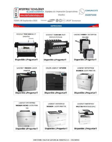Impresoras Y Multifuncionales Hp