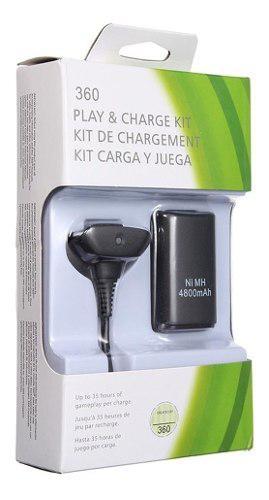 Xbox 360 Kit Carga Y Juega + 4800 Ni-mh Cargador Hasta 35hrs
