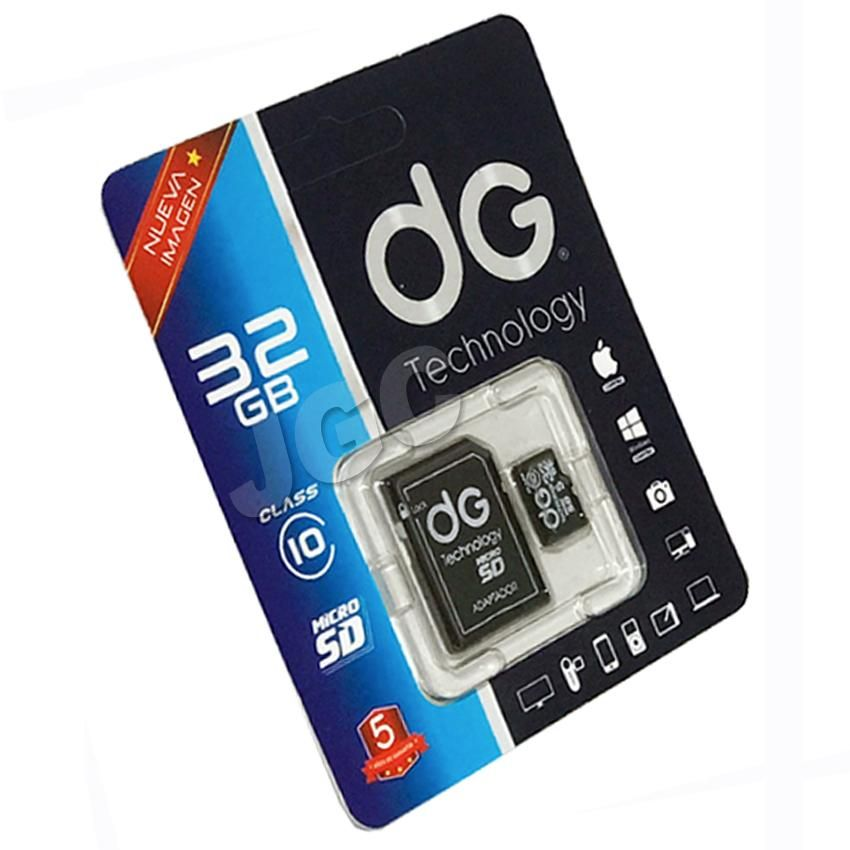 Micro SD Con Adaptador SD Marca DG Technology 32 GB Clase 10