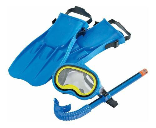Kit De Buceo Snorkel + Careta + Aletas Completo