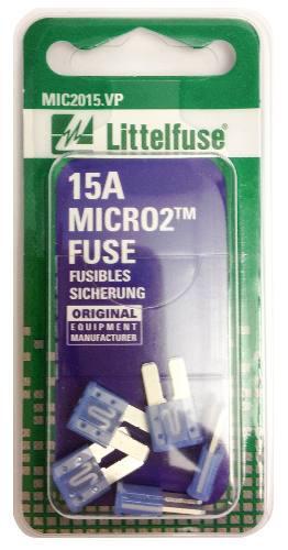 Littelfuse (mic2015.vp) Micro2 Blue 32v 15 Amp Blade Fuse, (