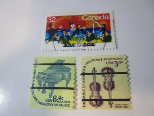 Musica Clasica 3 Estampillas Antiguas Coleccion L33