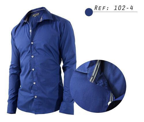 Camisa De Hombre Informal,manga Larga,cuello Tejido