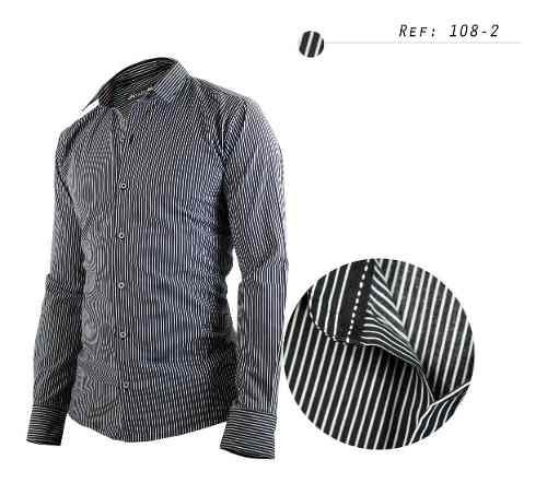 Camisa De Hombre Informal,manga Larga,raya Blanca