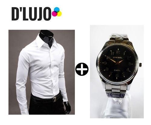 Camisa Hombre Manga Larga Slim Elegante + Reloj Full Calidad