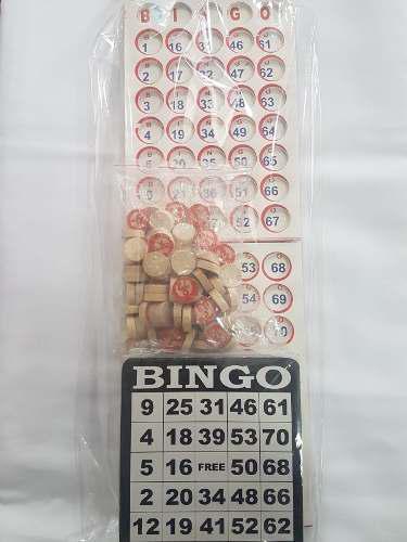 Juego De Bingo Sencillo= 100 Tablas Carton+fichas En Madera