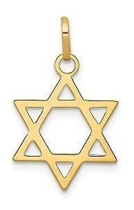 14k Oro Amarillo Pulido Estrella De David Charm Colgante -