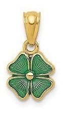 14k Oro Amarillo Verde Esmalte Cuatro 4 Hoja Trébol Charm C