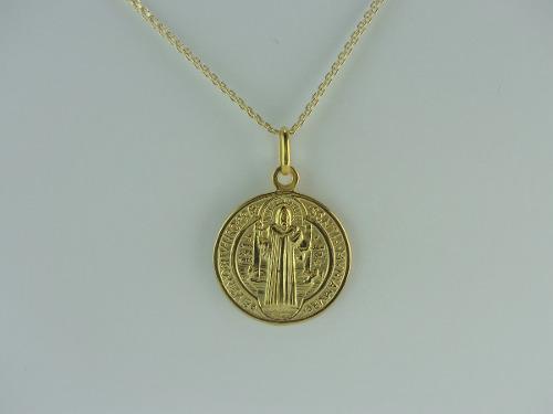 Dije Medalla San Benito Grande En Oro 18k Ref: 28378