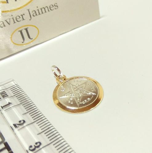 Medalla Tetragramaton Pentagrama Dije Plata 925 Y Oro 18k