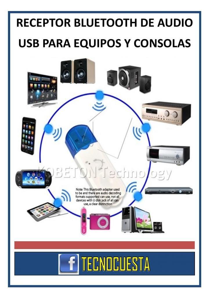 RECEPTOR BLUETOOTH DE AUDIO PUERTO USB PARA EQUIPOS Y