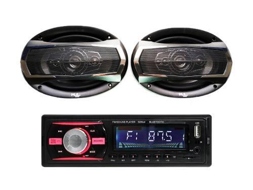 Combo Radio Carro Usb Bluetooth + Parlantes Kl Audio Ovalado
