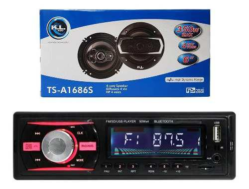 Combo Radio Para Carro Usb Bluetooth + Parlantes Kl Audio 6