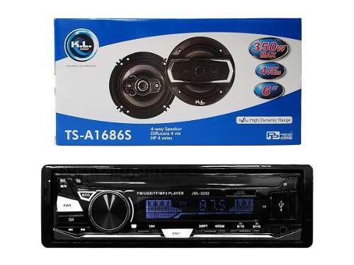 Combo Radio Para Carro Usb + Parlantes Kl Audio 6 Pulgadas