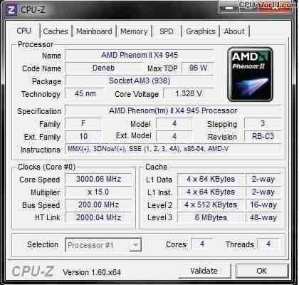 Amd Phenom Ii X4 945@ 3.0ghz 95w Am2+ Am3 Am3+