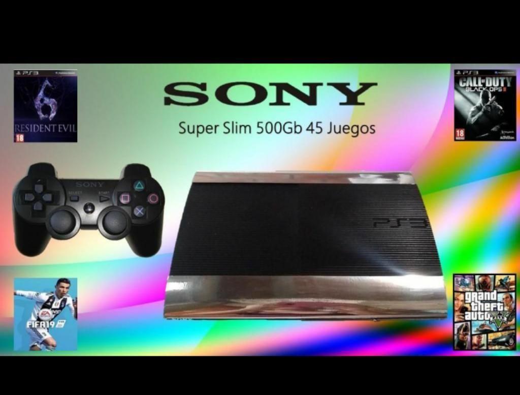 Play 3 Super Slim 500GB 45 Juegos Digitales Excelente Estado