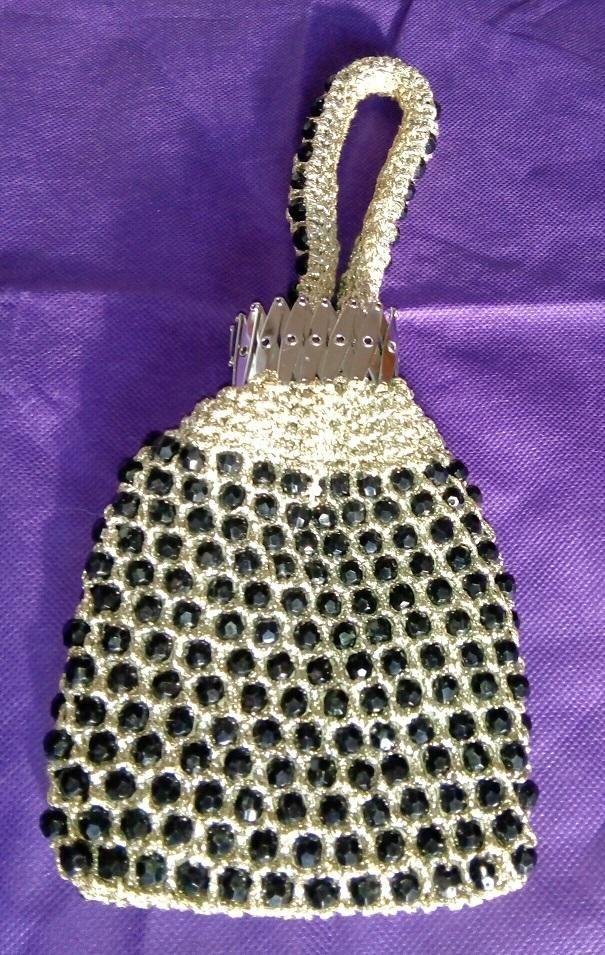 Bolso de fiesta con piedras negras e hilos plateados Vintage