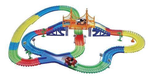 Pista Carros, Magic Tracks 360 Piezas Brilla 2 Carros+puente