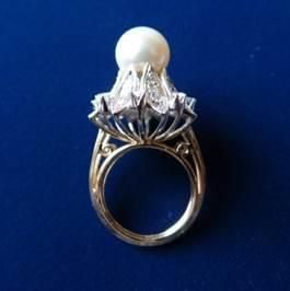 Anillo Oro Blanco Dorado Diamantes Perla