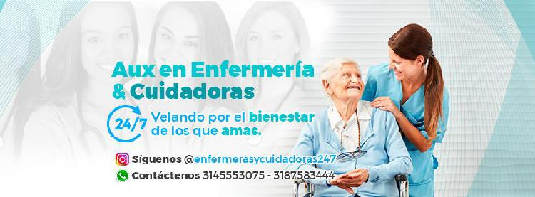 Auxiliares de enfermería y cuidadoras 24/7