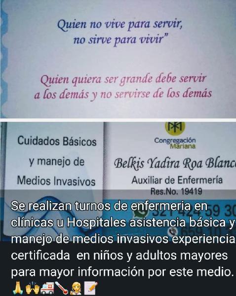 Servicio de Auxiliar de Enfermería.