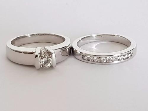 Anillo Compromiso Pisa Argolla Diamantes En Oro Blanco 18k
