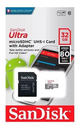 Memoria Micro Sd 32gb Clase 10 Sandisk Ultra + Adaptador Sd