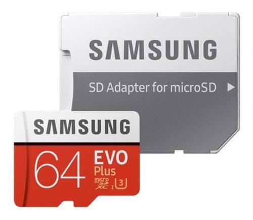 Memoria Micro Sd 4k Uhd Samsung Evo 64 Gb 100 Mb/seg Adapt