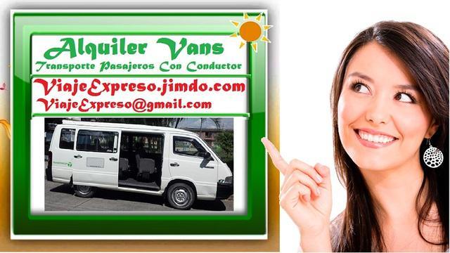 Alquiler Vans, Transporte De Pasajeros Con Conductor. Vans