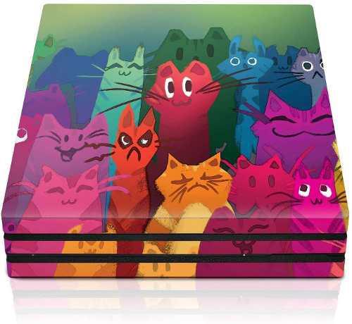 Funda Para Consola Ps4 Pro - Gatos Horizontales - Plays...