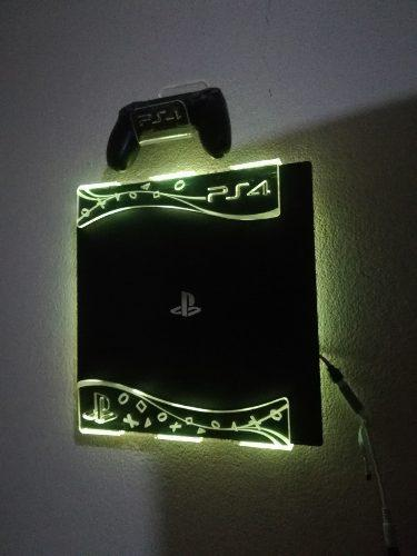 Soporte Repisa Base Consola Ps4 Slim, Fat + 2sop De Control