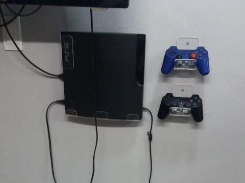 Soporte Acrilico Pared Para Ps3 Slim + 2 Sop Controles