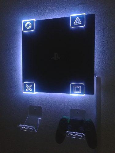 Soporte Base Pared Ps4 Pro + Luz Led Rgb + 2 De Controles.