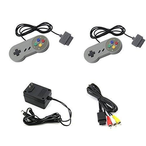 Super Nintendo Snes Ac Adaptador Av Adaptador 2 Controladore