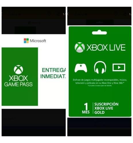 Combo 1 Mes De Game Pass Mas 1 Mes De Xbox Live Gold