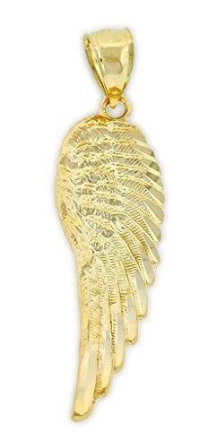 Charm America Gold Angel Ala Encanto 10 Kilates De Oro Maciz