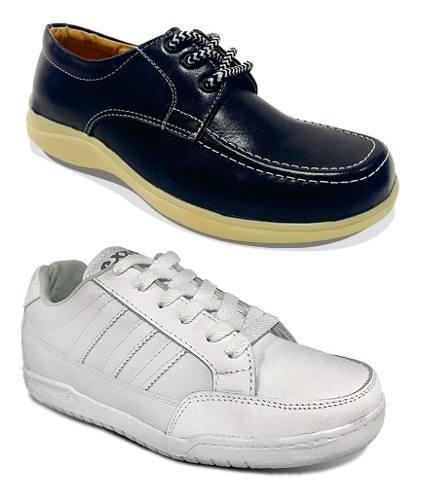 Promoción Combo Tenis Blancos Y Zapatos Colegiales Cuero