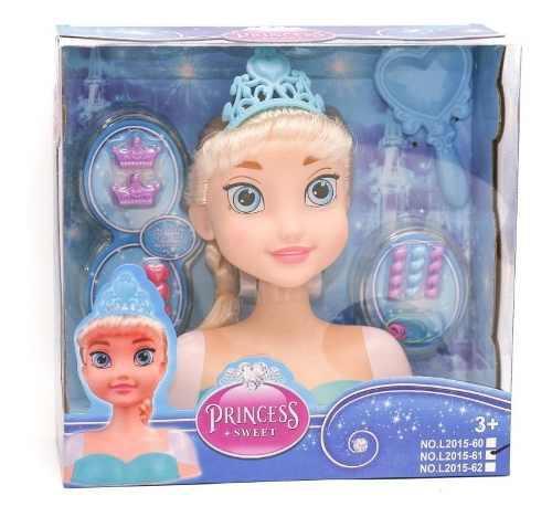 Muñeca Frozen Cabeza Para Peinar Con Accesorios Navidad