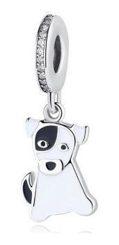 Charm Dije Cachorro Tipo Pandora En Plata 925 Y Esmalte