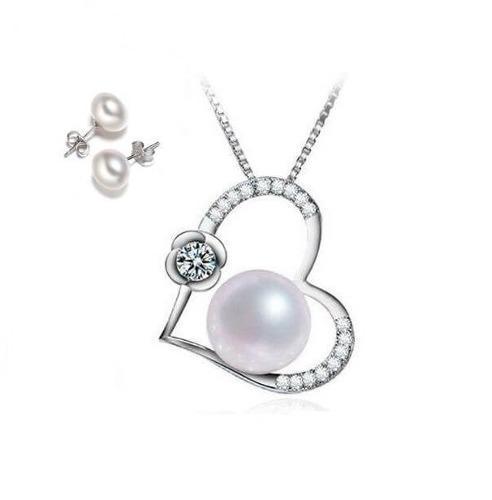 Collar Y Aretes Perlas Corazón Para Mujer En Plata 925