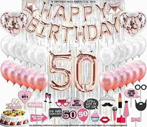 Decoraciones De Cumpleaños Dorado Rosa Con Cortinas Platead