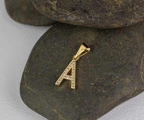 Dije Letra Piedras Oro Laminado 18k