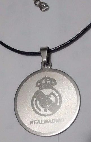 Dije Real Madrid En Acero Inoxidable Con Collar De Cuerito