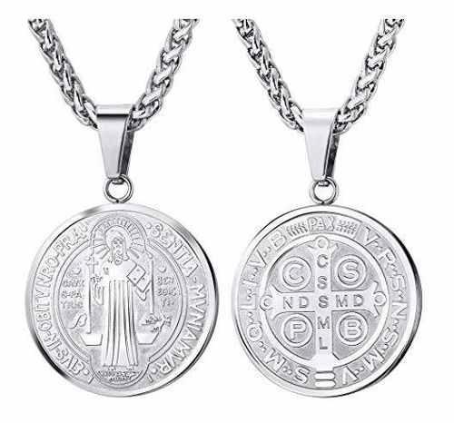 U7 Acero Inoxidable Medalla De San Benito Colgante, Collar