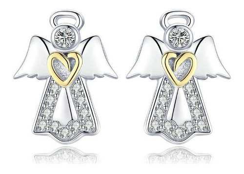 Aretes Para Mujer Ángel Protector Fabricados En Plata 925